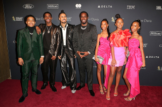 """Justin Dior Combs, Chris Combs, Quincy Combs, Sean """"Diddy"""" Combs e figlie Clive Davis' 2020 Pre-Grammy Gala, Arrivi, The Beverly Hilton, Los Angeles, USA - 25 gennaio 2020"""